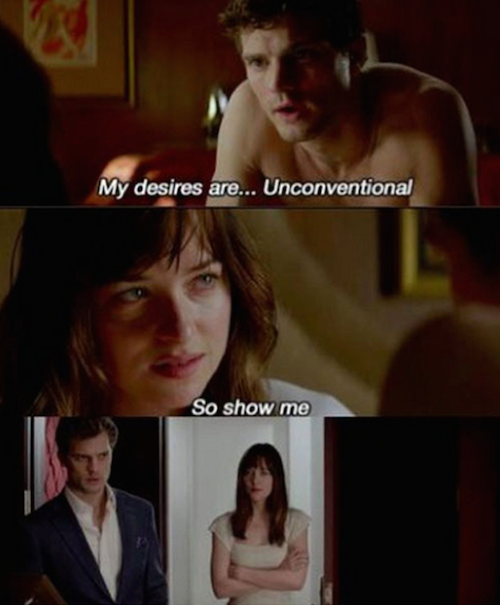 A scene from Fifty Shades of Grey: